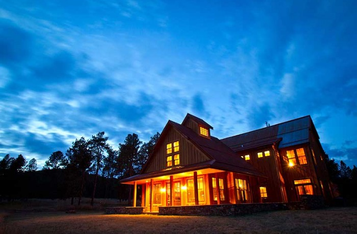 Timber Home In Custer, custom home at night